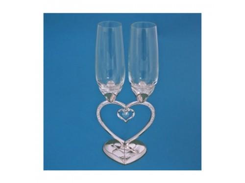 Бокалы свадебные на ножке в виде сердца с подвеской, серебро