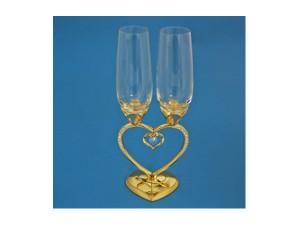Бокалы свадебные на ножке в виде сердца с подвеской, золото
