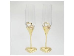 Бокалы свадебные на элегантной ножке с декором, золото