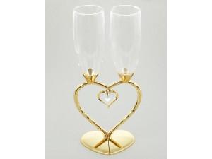 Бокалы свадебные на ножке в виде сердца с подвеской без декора, золото