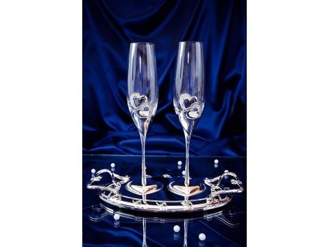 Бокалы свадебные на подносе, серебро