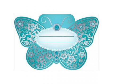 """Банкетная карточка """"Бирюзовая бабочка"""""""