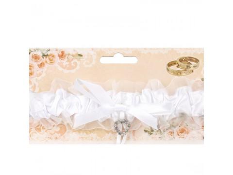 Подвязка для невесты белая с сердечком