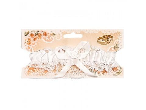 Подвязка для невесты кружевная белая с бантом
