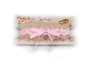 Подвязка для невесты розовая с сердечком